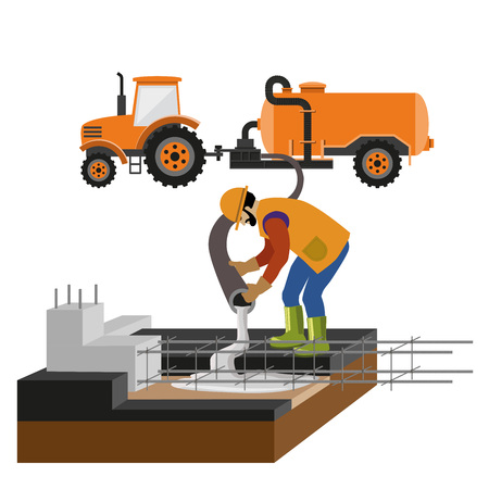 Illustration pour Worker at building site are pouring concrete in mold. Vector illustration isolated on white background - image libre de droit