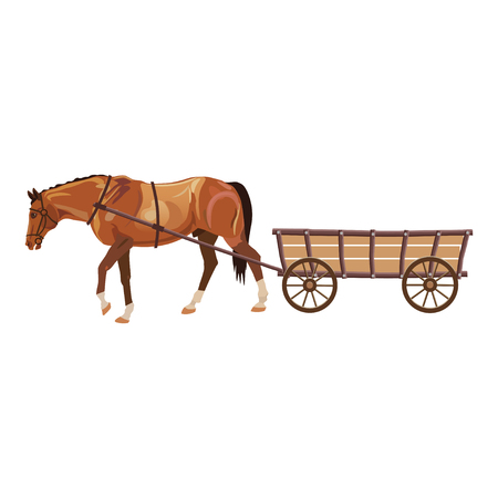 Ilustración de Horse with cart. Vector illustration isolated on white background - Imagen libre de derechos