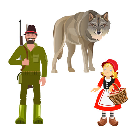Illustrazione per Set of characters from Little Red Riding Hood fairy tale. Vector illustration isolated on white background - Immagini Royalty Free