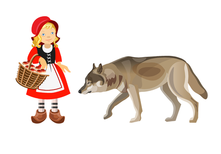 Illustrazione per Little Red Riding Hood and Gray Wolf. Vector illustration isolated on white background - Immagini Royalty Free