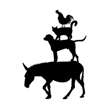 Ilustración de Silhouettes of farm animals as Bremen town musicians. Vector illustration isolated on white background - Imagen libre de derechos