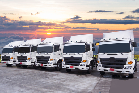 Photo for New Truck fleet in the yard with beautiful sky. - Royalty Free Image