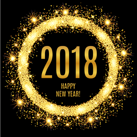 2018 Happy New Year glowing gold background. Vector illustration