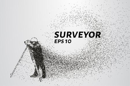 Illustration for Surveyor of the particles. Surveyor consists of dots and circles. Vector illustration - Royalty Free Image