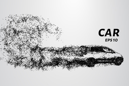 Ilustración de Car from the particles. Of the cars fly off the dots and small circles - Imagen libre de derechos