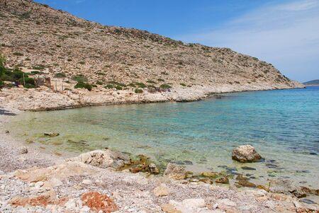 The pebble beach at Kania on the Greek island of Halki.