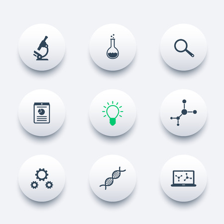Photo for Science, research, laboratory round modern icons - Royalty Free Image