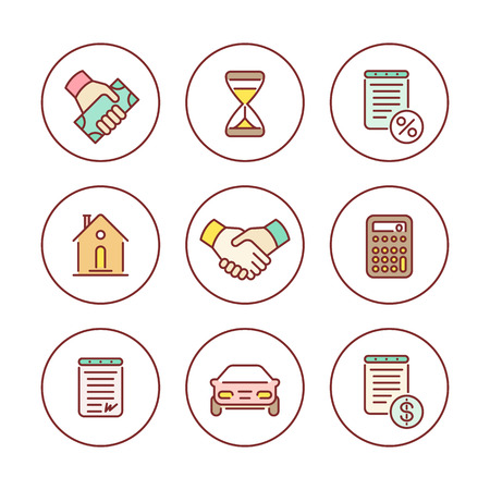 Leasing, banking, loan, colored line icons