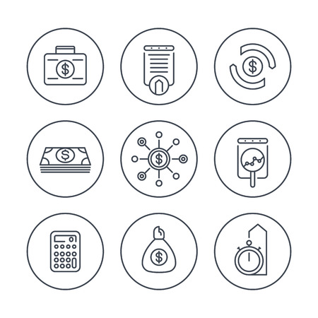 finance, investments, investment analysis, line icons in circles, vector illustration