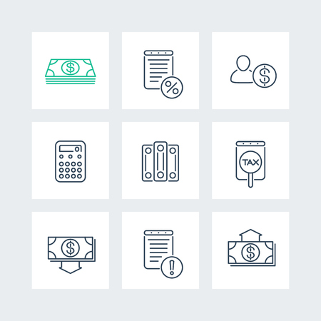 Bookkeeping, finance, tax line icons in squares, vector illustration