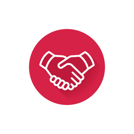 handshake line icon, deal, partnership, agreement, shaking hands round red flat pictogram on white