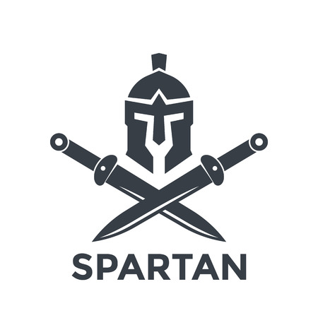 Illustration pour Spartan logo template with helmet and swords - image libre de droit