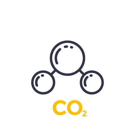 Illustration pour Co2 molecule line icon illustration on white background. - image libre de droit