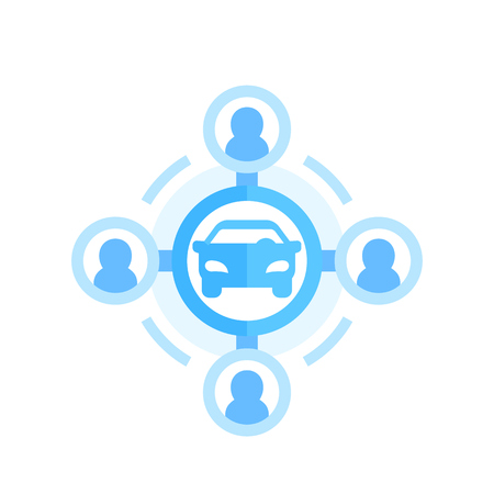 Illustration pour carsharing icon on white in flat style - image libre de droit