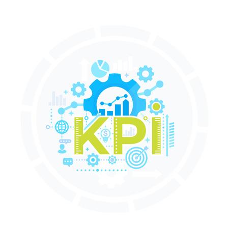Illustration pour KPI, Key Performance Indicator, management concept, business analytics vector - image libre de droit