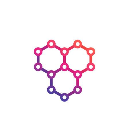 Illustration pour graphene, atomic carbon structure vector logo design - image libre de droit