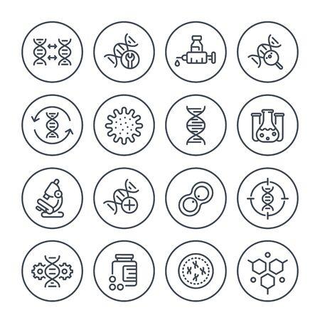 Illustration pour genetics line icons, dna chain, gene editing and genetic research, vector - image libre de droit
