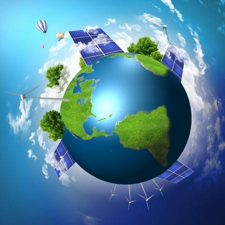 Foto de Collage with solar batteries as alternative source of energy - Imagen libre de derechos