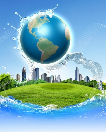 Photo for collage of green nature landscape with planet Earth above it - Royalty Free Image