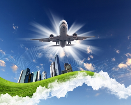 Photo for Image of plane on blue sky background - Royalty Free Image