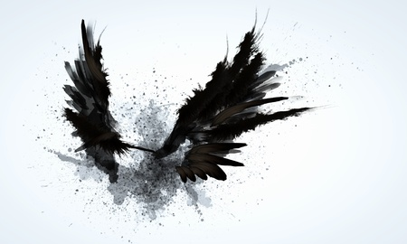 Foto de Abstract image of black wings against light background - Imagen libre de derechos