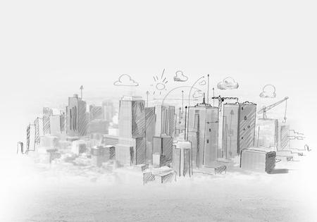 Photo pour Hand drawing of urban scene  Construction concept - image libre de droit