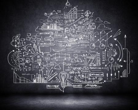 Foto de Business sketch ideas against dark wall background - Imagen libre de derechos