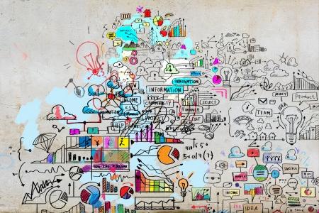 Foto de Business plan image with collage hand drawings - Imagen libre de derechos