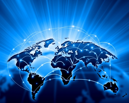 Photo pour Blue vivid image of globe  Globalization concept - image libre de droit