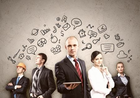 Foto de Image of young businesspeople team  Collage background - Imagen libre de derechos