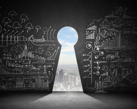 Photo pour Business plan sketch on black wall with key hole - image libre de droit