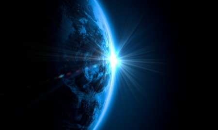 Photo for Planet Earth with appearing sunbeam light  Elements of this image are furnished by NASA - Royalty Free Image