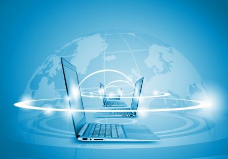 Photo pour Laptops against globe blue illustration  Globalization concepts - image libre de droit