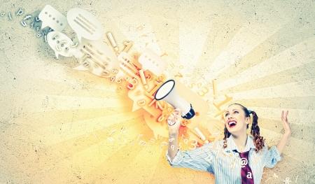 Foto für Funny looking woman speaking with a megaphone - Lizenzfreies Bild