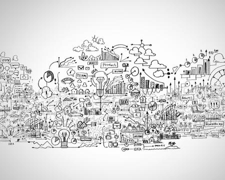 Photo pour Hand drawn business ideas sketch against white background - image libre de droit