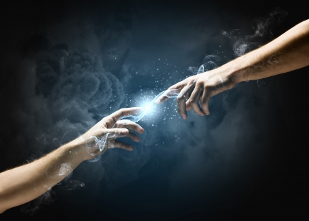 Photo pour Michelangelo God s touch  Close up of human hands touching with fingers - image libre de droit