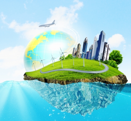 Photo for City on island floating in water  Global warming - Royalty Free Image