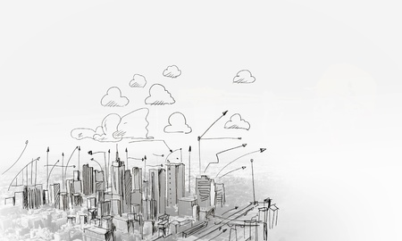 Photo pour Background sketch image with building plan and strategy - image libre de droit