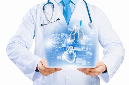 Close up of doctor s body holding tablet pc with media illustration
