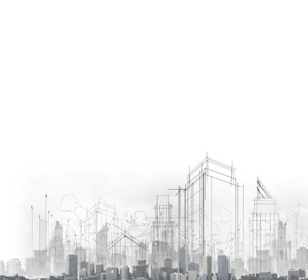 Photo pour image with drawings of modern city - image libre de droit
