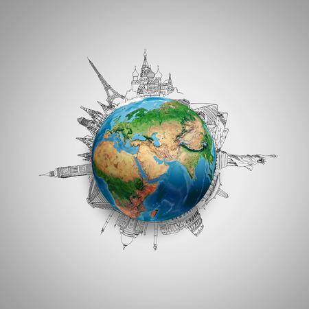 Photo pour Earth planet on grey with pencil sketches   - image libre de droit