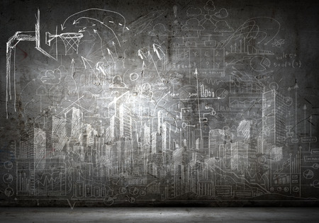 Photo for Background image with sketches on black wall - Royalty Free Image