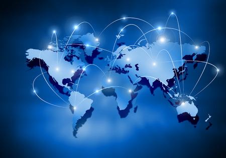 Foto de Media blue background image with world map - Imagen libre de derechos