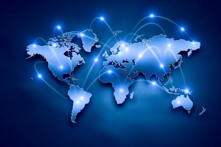 Foto de Background digital image of world map with connection lines - Imagen libre de derechos