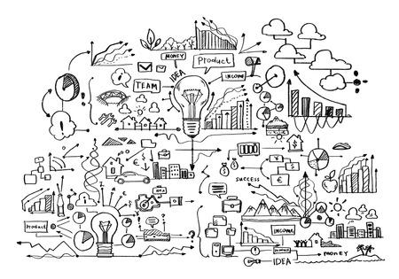 Photo pour Background image with business sketches on white backdrop - image libre de droit