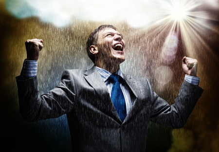 Photo pour Cheerful businessman with hands up celebrating success - image libre de droit