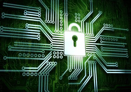 Foto de Conceptual image of micro circuit  Security concept - Imagen libre de derechos