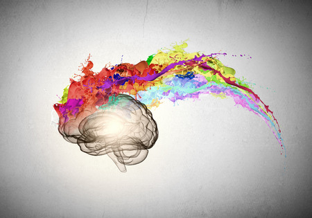 Foto de Conceptual image of human brain in colorful splashes - Imagen libre de derechos