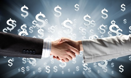Photo for Close up of business handshake on digital  - Royalty Free Image