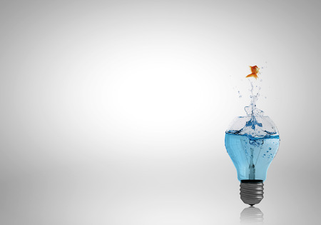 Photo pour Conceptual image with light bulb filled with clear water - image libre de droit